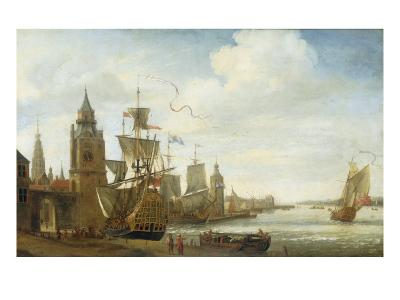 A Capriccio View of the Port of Antwerp-Jan Karel Donatus Van Beecq-Giclee Print