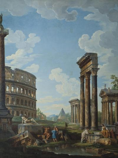 A Capriccio with Figures Among Roman Ruins Including the Arch of Constantine and the Pantheon-Giovanni Paolo Panini-Giclee Print