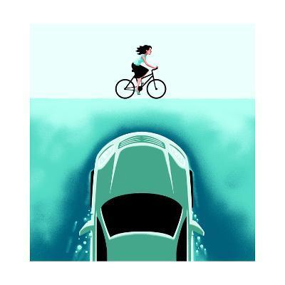 A car emerges from the deep toward a bicyclist - Cartoon-Christoph Niemann-Premium Giclee Print