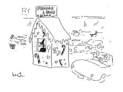 A car passes a witch in gingerbread hut with a sign reading; 'Photos1 Hour? - Cartoon-Arnie Levin-Premium Giclee Print