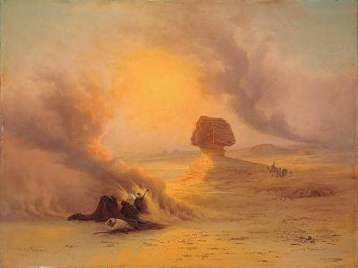A Caravan Caught in the Sinum Wind Near Gizah-Johann Jakob Frey-Giclee Print