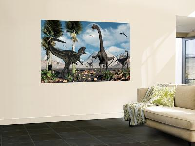 A Carnivorous Allosaurus Confronts a Giant Diplodocus Herbivore During the Jurassic Period on Earth-Stocktrek Images-Wall Mural