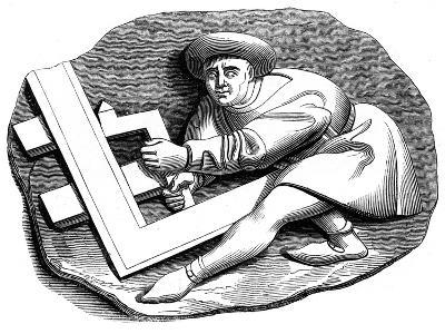 A Carpenter's Apprentice Working at a Trial Piece, 15th Century--Giclee Print