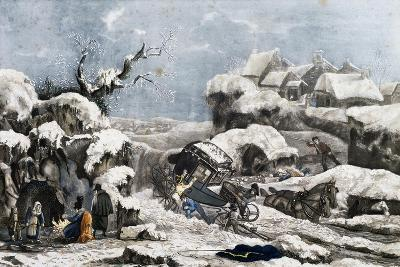 A Carriage Accident, France, 19th Century--Giclee Print