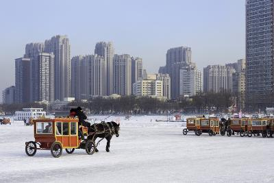 A Carriage on the Icebound Songhua River in Harbin, Heilongjiang, China, Asia-Gavin Hellier-Photographic Print