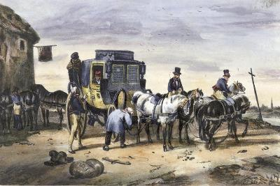 A Carriage Parked Outside an Inn--Giclee Print