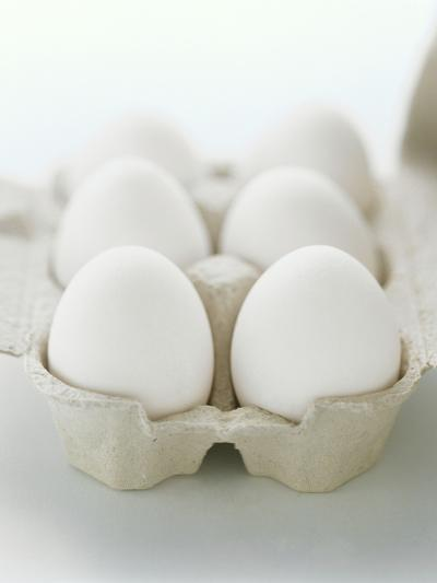 A Carton of Six White Eggs--Photographic Print
