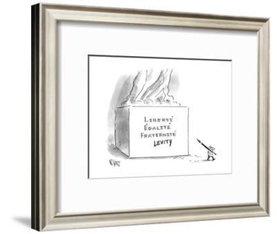"""A cartoonist stands draws """"LEVITY"""" on a French pedestal that reads """"FRATER? - New Yorker Cartoon--Framed Premium Giclee Print"""