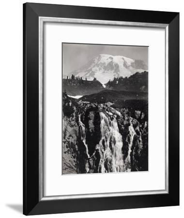 A Cascading Branch of the Upper Paradise River, Mount Rainier in Back-A. H. Barnes-Framed Photographic Print