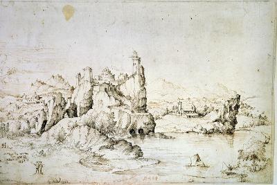 A Castle on a Rock in Mountainscape, 1540-Gherardo Cibo-Giclee Print