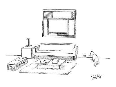 A cat stares at a square mouse hole in a room made entirely of square furn? - New Yorker Cartoon-Eric Lewis-Premium Giclee Print