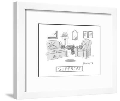 A cat with a cape is seen sleeping and levitating in a living room.  - New Yorker Cartoon-Danny Shanahan-Framed Premium Giclee Print