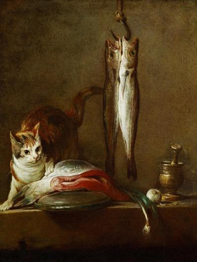 A Cat with a Piece of Salmon, Two Mackerels, Mortar and Pestle, 1728-Jean-Baptiste Simeon Chardin-Giclee Print