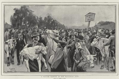 A Cattle Market in the Bavarian Alps-Clement Flower-Giclee Print