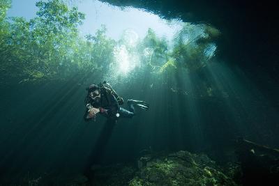 A Cave Diver Explores the Cenote El Pit in Quintana Roo, Mexico-Cesare Naldi-Photographic Print