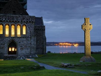 A Celtic Cross Stands Outside the Iona Monastery Church at Dusk-Jim Richardson-Photographic Print
