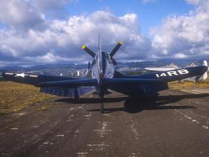 A Chance Vought F4U Corsair on the Ford Island Airfield, Oahu, Hawaii