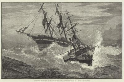 A Channel Tug Trying to Get a Rope on Board a Distressed Vessel in a Storm--Giclee Print