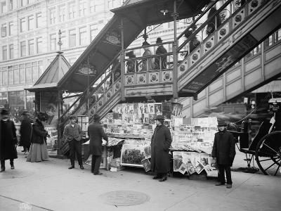 A Characteristic Sidewalk Newsstand, New York City, C.1903--Photographic Print