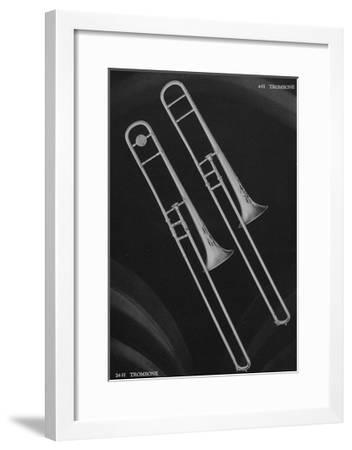 A Charles Gerard Conn Artist Model Trombone 4-H and a Artist-Ballroom Trombone 24-H--Framed Giclee Print