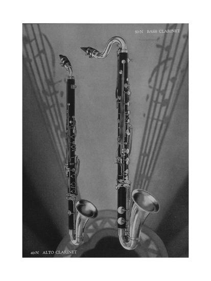 A Charles Gerard Conn Eb Alto Clarinet 40-N and Bb Bass Clarinet 50-N  Giclee Print by | Art com