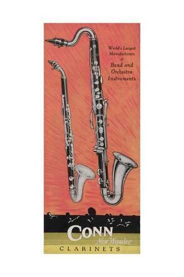 A Charles Gerard Conn Giant Boehm Alto 40-N Clarinet and Giant Boehm Bass 50-N Clarinet--Giclee Print