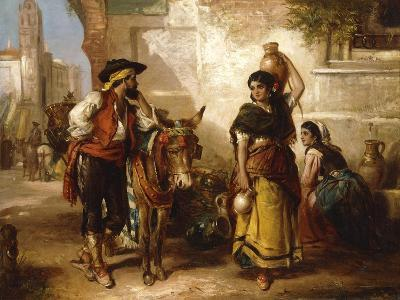 A Chat at the Fountain, Seville-Thomas Kent Pelham-Giclee Print