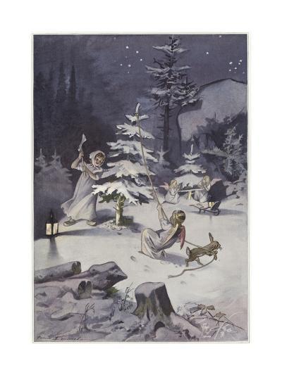 A Cherub Wields an Axe as They Chop Down a Christmas Tree--Giclee Print