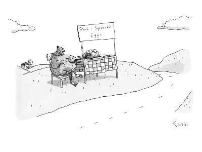 """A chicken sits next to a roadside stand with a bowl of eggs. The stand has?"""" - New Yorker Cartoon-Zachary Kanin-Premium Giclee Print"""