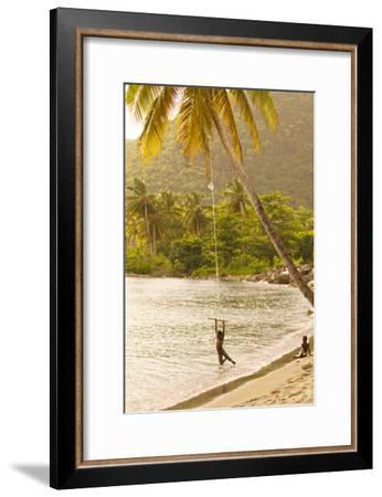 A Child Swings From a Coconut Tree On the Beach Outside Portsmouth-Jad Davenport-Framed Photographic Print