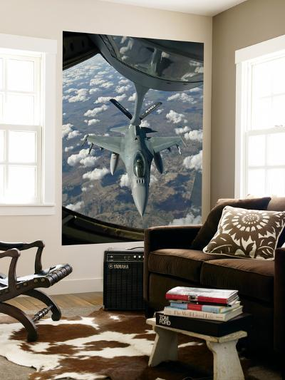 A Chilean Air Force F-16 Refuels from a U.S. Air Force Kc-135 Stratotanker-Stocktrek Images-Wall Mural