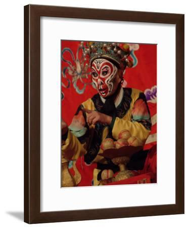 A Chinese Opera Performer in Monkey Makeup and Costume-Richard Nowitz-Framed Photographic Print