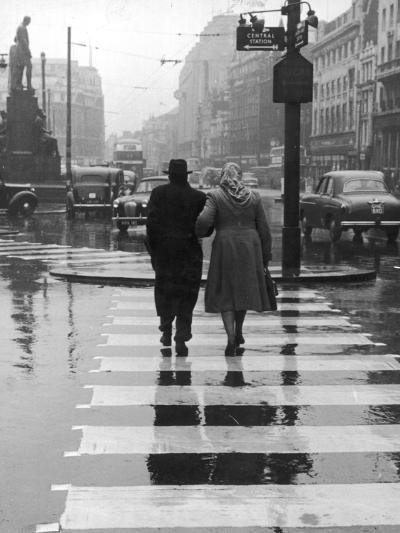A City Street on a Rainy Day : the Location Is Manchester-Henry Grant-Photographic Print