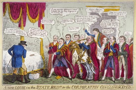 A Civic Louse in the State Bed!!!, or the Corporation Conglomorated!!, 1824-Isaac Robert Cruikshank-Giclee Print