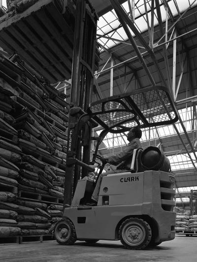 A Clark Forklift Truck, Spillers Animal Foods, Gainsborough, Lincolnshire, 1962-Michael Walters-Photographic Print