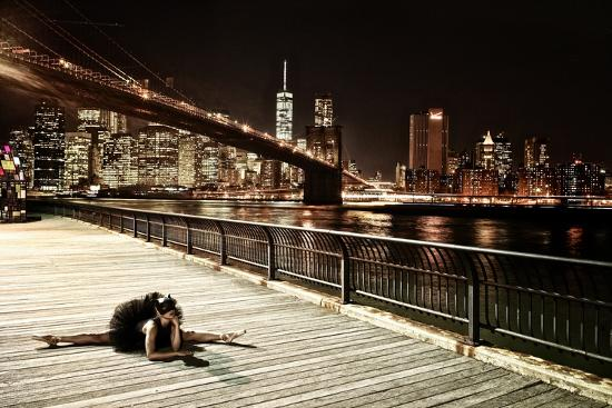 A Classic Ballerina Dances in Brooklyn Bridge Park-Kike Calvo-Photographic Print