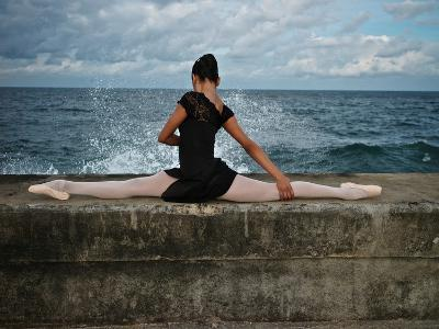 A Classic Ballerina from the Cuba National Ballet at the Malecon-Kike Calvo-Premium Photographic Print