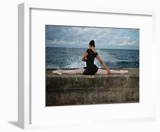 A Classic Ballerina from the Cuba National Ballet at the Malecon-Kike Calvo-Framed Photographic Print
