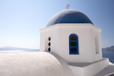 A Classic Blue Dome of a Greek Orthodox Church in Santorini, Greece-Krista Rossow-Photographic Print