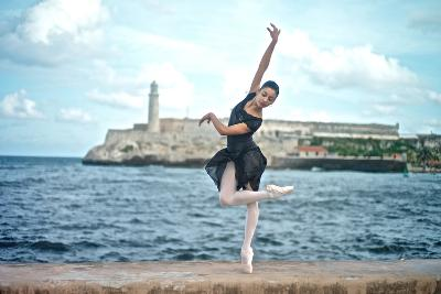 A Classical Ballerina from the Cuba National Ballet at the Malecon-Kike Calvo-Premium Photographic Print