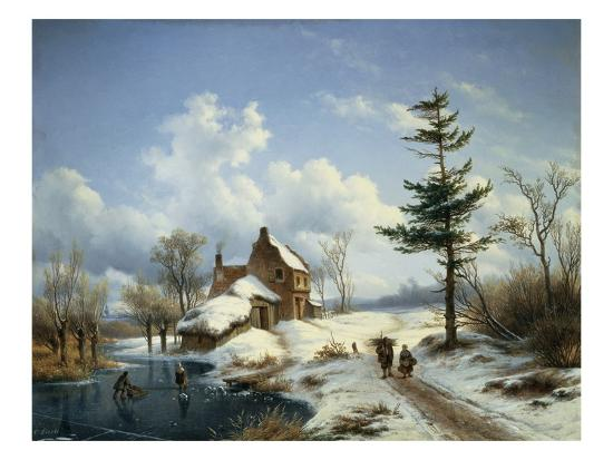 A Clear Winter's Day-Cornelius Lieste-Giclee Print