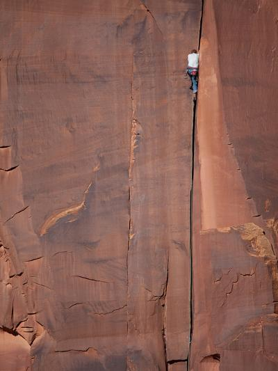 A Climber Ascends One of Indian Creeks Many Perfect Hand Cracks-Ben Horton-Photographic Print
