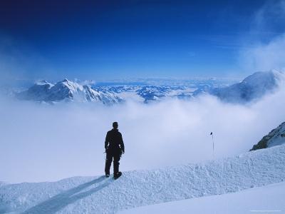 A Climber at 16,000 Feet on the West Buttress of Denali-Bill Hatcher-Photographic Print