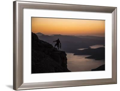 A Climber Looks Down on the Land Connecting Oman's Musandam Peninsula to the Arabian Mainland-Mikey Schaefer-Framed Photographic Print