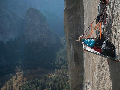 A Climber Reclines on a Hanging Camp on El Capitan-Jimmy Chin-Photographic Print