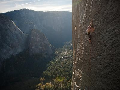 A Climber, Without a Rope, Grips an Expanse of El Capitan-Jimmy Chin-Photographic Print