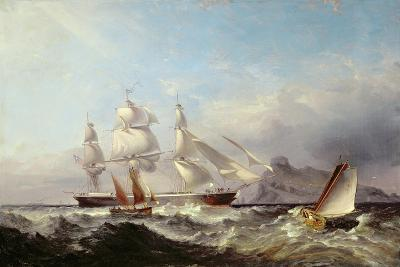 A Clipper Ship Off the Mumbles Lighthouse, Swansea-James Harris of Swansea-Giclee Print