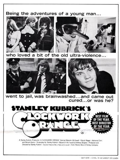 A Clockwork Orange, Malcolm Mcdowell, 1971--Poster