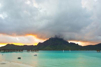 A Cloudy Sunset over Mount Otemanu and the Pacific Ocean-Mike Theiss-Photographic Print
