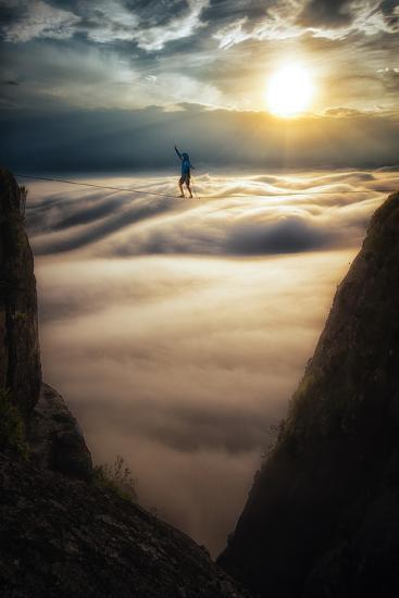 A Coastal Front Blows in While a Highliner Traverses Two Cliffs Above Rio De Janeiro-Keith Ladzinski-Photographic Print